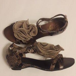 Fergie/ Snakeskin Print/ T Strap/ Sandals